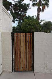 wrought iron fence gate. 3-foot-gate-wide-view-with-wood Wrought Iron Fence Gate