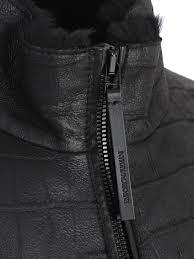 emporio armani textured leather jacket nero
