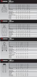 Dainese Size Chart Dainese Outerwear Size Chart