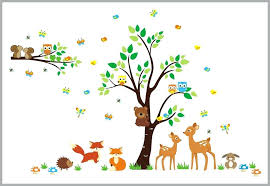 woodland wall decals forest woodland wall decals baby room fox deer rabbit tree woodland fairy wall decals