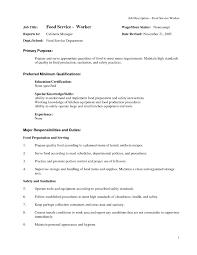 Sample Resume For Food Service Worker Sample Resume For Food Production Line Worker Fresh Food Service 2