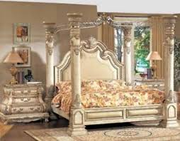 Victorian Antique White Luxury California King Poster Canopy Bed & 2 ...