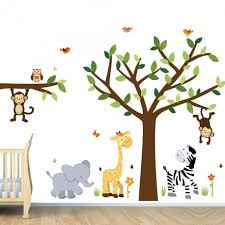 fetching home interior wall decor with jungle tree wall decals exquisite unisex baby nursery room on jungle wall art for baby room with decoration ideas exquisite unisex baby nursery room decoration