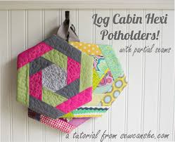 Log Cabin Hexi Potholders... a tutorial with partial seams ... & Log Cabin Hexi Potholders... a tutorial with partial seams — SewCanShe |  Free Sewing Patterns for Beginners Adamdwight.com