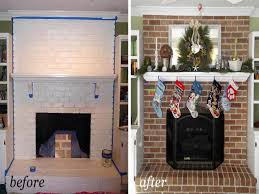 gray grey painted brick fireplace then