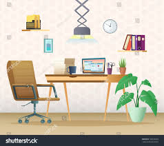 home office workspace. A Modern Home Office. Workspace Designed In Cartoon Style Office