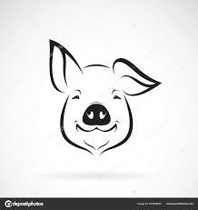 Pig Design Background Pig Head On White Vector Pig Head Design White