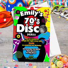 10 personalised 70 s disco birthday party invitations n130
