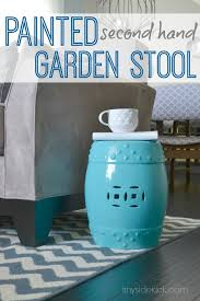 turquoise garden stool. Perfect Garden Painted Second Hand Garden Stool A Knock Off Inside Turquoise Hey There Home