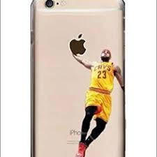 lebron dunking apple logo case. lebron james iphone phone case new! brand new, cleveland cavaliers dunking case. it is clear in color and made of plastic. apple logo c