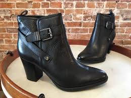 details about franco sarto black leather delancy ankle strap heeled bootie boot 8 5 new