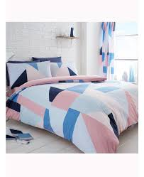 blue and pink geometric single duvet cover and pillowcase set