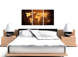 modern vintage old world map brown cream canvas set of 3 125cm 3188 on map wall art uk with vintage world map canvas wall art set of 3 for your bedroom