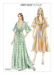 Vogue Dress Patterns Stunning Vogue Patterns 48 MISSES' DEEPV KIMONOSTYLE DRESSES WITH SELF
