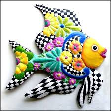 metal fish wall decor painted tropical hanging funky home x woodland imports