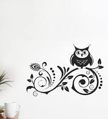 Small Picture Buy WallTola PVC Vinyl Black Owl on Spiral Design Wall Sticker