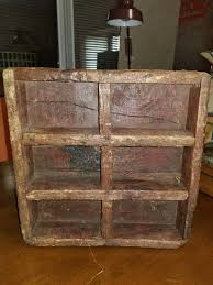 antique primitive wooden box has 6 divided sections 1 of 5only 1 available