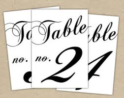 Eucalyptus Wedding Table Numbers Templates In Black 5x7