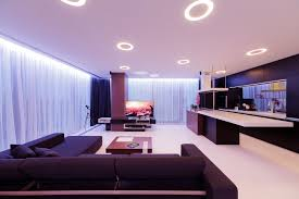contemporary apartment decoration ideas with unique ceiling recessed lighting setup and curtain lighting