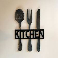 kitchen metal sign knife fork and spoon wall decor metal kitc on knife fork spoon kitchen wall art with shop spoon and fork kitchen decorations on wanelo
