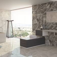marble light grey wall tiles with mounted sink and large windows for best modern bathroom ideas