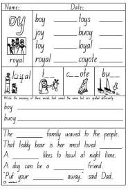 Just click on the pictures below and print! Oi Oy Worksheet English Worksheets For Kids Phonics Phonics Worksheets