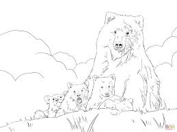 Grizzly Bear Mother And Cubs Coloring