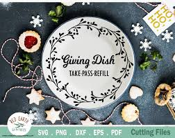 Dear santa christmas eve plate svg cut file this item is an instant download file. Christmas Sharing Plate Giving Plate Svg Dxf Png Eps Pdf So Fontsy