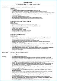 Sample Bartender Resume 100 Sample Bartender Resume SampleResumeFormats100 35