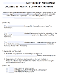 Limited Partnership Agreement Template Free Massachusetts Partnership Agreement Template Pdf Word