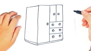 how to draw a closet or wardrobe step by step easy drawings