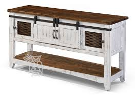 solid pine wood white pueblo storage sofa console table with sliding barn doors in white