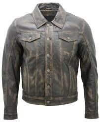 details about men s trucker slim fit casual vintage black leather shirt jeans jacket