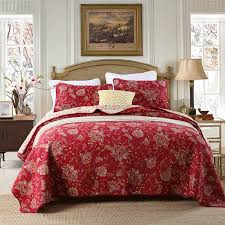 CHAUSUB Vintage 100% Cotton Quilt Set 3PCS Quilts Bedspread ... & CHAUSUB Vintage 100% Cotton Quilt Set 3PCS Quilts Bedspread Quilted Bed  Cover Pillow Shams Red Printed Coverlet Set King Size-in Quilts from Home &  Garden ... Adamdwight.com