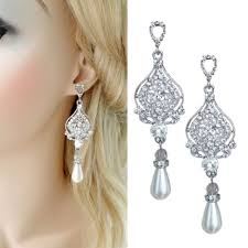 chandelier pearl drop bridal earrings dangling wedding earrings mock ivory pearl sparkling vintage cz crystal long earrings