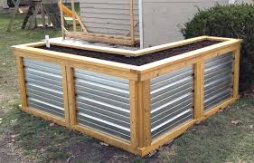 corrugated metal garden beds.  Corrugated Building A Self Watering Raised Garden Bed In Corrugated Metal Beds