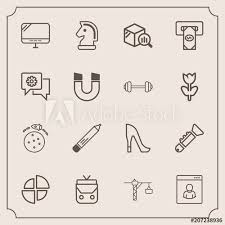 Modern Simple Vector Icon Set With Pie Space Style Chart