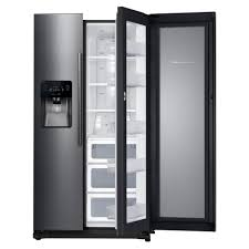 Black And Stainless Kitchen Samsung 247 Cu Ft Side By Side Refrigerator In Black Stainless