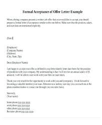 Accept Offer Letter Reply Formal Letter About Job Offer Mail Format For Acceptance Letters