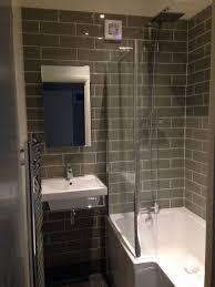 Small L Shaped Bathroom Design Sage Metro Tile Small Bathroom With L Shaped Shower Bath