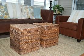 relying brown wicker coffee table with storage stained varnished sofa fabric carpet living room design