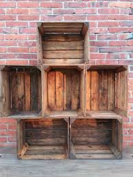 6 wooden crates fruit apple boxes vintage home decor cleaned vintage style