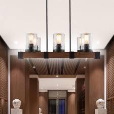 6 light clear glass rustic wood chandelier pendant