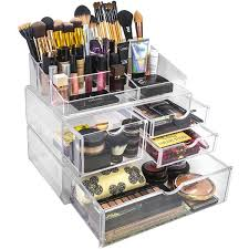 acrylic x large 4 drawer with sectional makeup organizer