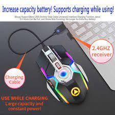 Chuột Không Dây Pin Sạc 2.4G Silent Chuột Chơi Game 1600 DPI 7 Nút Bấm Đèn  Nền LED Chuột Quang Máy Tính Cổng USB Cho Máy Tính/Laptop|Chuột