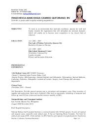 Ideas of Sample Resume For Filipino Nurses With Proposal