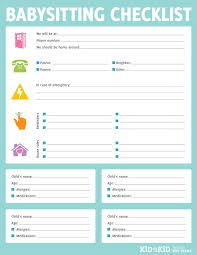 babysitter information sheet printable printable babysitting checklist have parents fill out before they