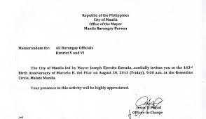 Memorandum - Manila Barangay Bureau