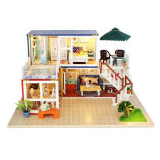 building doll furniture. fashion puppenhaus diy doll house with protection cover model building miniature wooden toys dollhouse furniture y