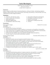 Production Worker Resume Assembly Line Worker Resume Manufacturing